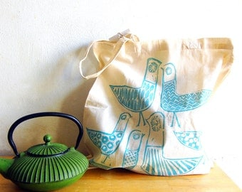 Birdland hand stamped cotton canvas tote bag turquoise