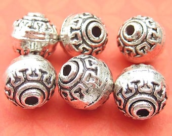 2 Big 11mm Round Beads, Silver Plated, Round Beads, Large Spacer Beads, Textured Beads, Silver Beads, DIY Jewelry - TS811B