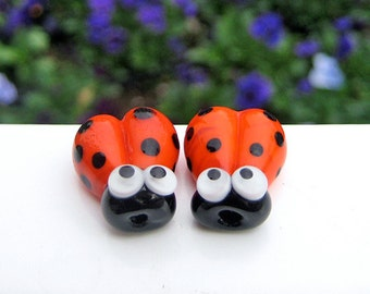 2 Glass Ladybug Beads - Lampwork Ladybug Beads - 16mm Ladybug Beads - Orange Ladybug - SRA Handmade Lampwork - B