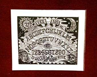Ouija Board Linocut Print Wall Art, Hand Printed Woodcut Print on Paper, Occult Art, Goth Art