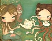Mermaid Print Octopus Art Apron Cakes Seahorse Wall Art Nautical Print---Tea Under The Sea LARGE PRINT 11 x 14