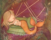 Mermaid Print Lost Carnival Nautical Girl Under The Sea Children Nursery Ferris Wheel Wall Art