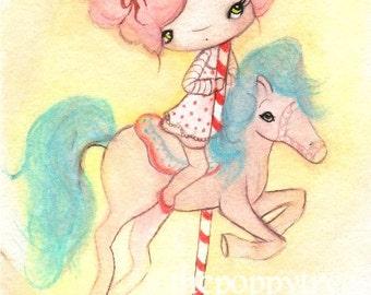 Carousel Print---Carnival art cute Girl Wall Image The Cotton Candy Carousel  5 x 7