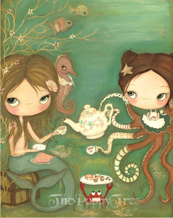 Mermaid Print Octopus Art Apron Cakes Seahorse Wall Art Nautical Print---Tea Under The Sea LARGE PRINT 11 x 14