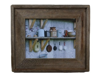 Rustic pots and pans print in 8x10 frame from reclaimed wood