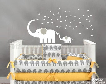 Elephant Wall Decal with Blowing Leaves with Baby Elephant - Vinyl Wall Decal for Nursery - K229