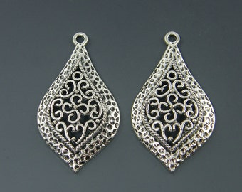Oxidized Silver Earring Findings Tribal Antique Silver Textured Metal Pendant Drop Charm  S20-12 2
