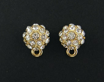 Clear Rhinestone Gold Round Earring Post with Loop Pave Half Ball Wedding Special Occasion Jewely Finding |G17-6|2
