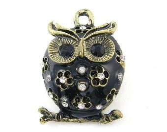 Black Owl Pendant, Black Gold Owl Pendant, Rhinestone Owl Pendant Charm with Flowers and Clear Rhinestones Trendy Pendant |BL5-7|1