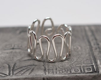 Sterling silver snake wirework metal wide band wavy ring