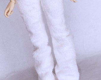 MSD BJD clothes Minifee White Furry yoga pajama pants by MonstroDesigns