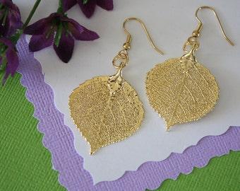 Gold Aspen Leaf Earrings Small, Aspen Leaf, Small Size Earrings, 24kt Gold Earrings, Real Leaf Earrings, Bridesmaid Gift, LESM82