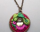 Magenta Garden Pendant Necklace, Handmade