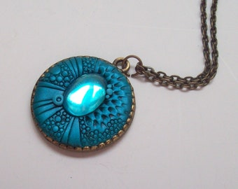 Peacock Blue Dragon Pendant Necklace, Handmade