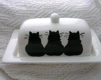 Three Black Cats On Ceramic Butter Dish Handpainted Original by Grace M Smith