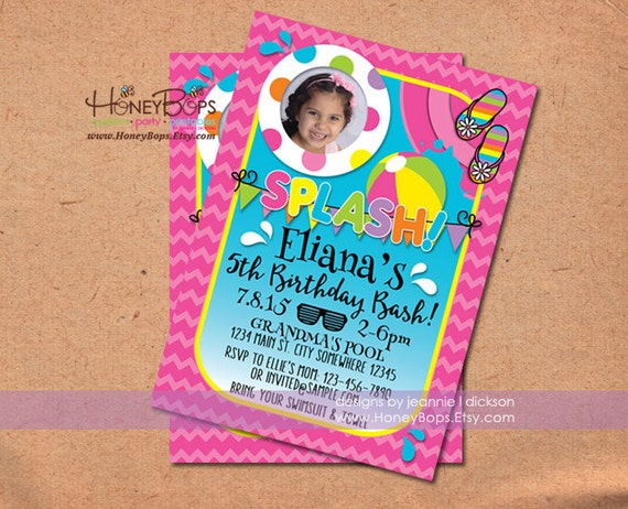 Summer Pool Party Invitation Birthday Splish Splash - Personalized Digital File