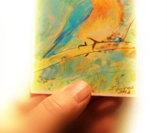 Spring begins, aceo, miniature art, artist trading cards, bird art, #Bluebirds, nature gifts, tiny art, mixed media photograph