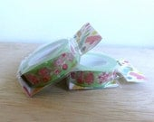 Funtape paper masking tape – Pink flower in soft green