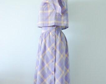 vintage 1980s / Cacharel / pastel plaid / cotton / two piece dress / lilac / crop top / midi skirt / summer