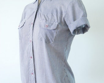 vintage 1970s / blue gingham / shirt / cropped / mod  / cotton / navy and white / boys shirt