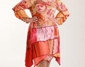 Sz. L Upcycled Dress/ Bohemian Cotton Tee Dress/ Coral-Red-Orange/ brendaabdullah