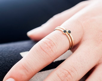 14k Gold Little Onyx Ring | Black Onyx Ring | Nature Inspired | Stacking Ring