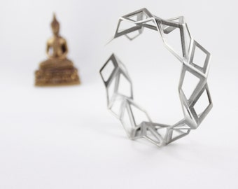 Geometric Silver Tessellation Bracelet, Origami Jewelry, 3D Printed Jewelry, Unique Silver Bracelet, OOAK Bracelet, Sterling Silver Bracelet