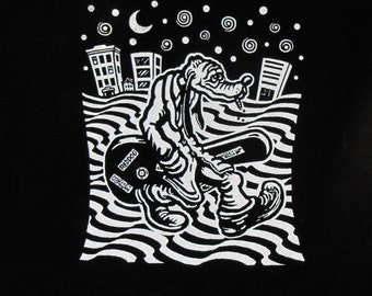 t shirt guitar playing dog musician men's psychedelic black and white