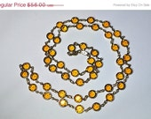 "ON SALE Vintage AUSTRIAN Crystal Usa, Crystal Bezel Necklace, Gold and Amber, 36"" Long, 8mm, Translucent Beauty!  #a868"
