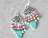 Turquoise Magnesite & Red Glass Beaded Silver Fan Chandelier Earrings,Silver Chandelier Earrings,Turquoise Earrings,Southwestern