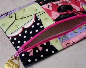 Coin Purse, Small Zippered Purse, Fashion Girl Print Fabric Small Purse, Polka Dots, Zipper Pull Coin Purse, Handbag Charm