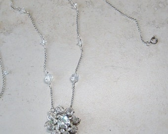 Vintage Rhinestone Pendant Necklace,  Beaded Silver Chain Necklace, Vintage Crystal Bead Necklace, Victorian