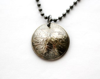 Domed Coin Necklace, Mississippi State Quarter Pendant, U.S. Quarter Dollar, 2002, Magnolia, Repurposed Jewelry by Hendywood