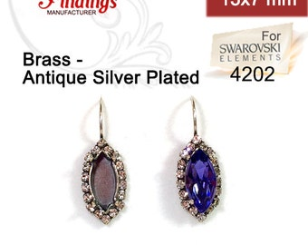 Antique Silver Plated Earrings for Navette Marquise Swarovski 15x7mm 4200 and 4202 w/ Crystal Rhinestones  (LBNA157CRYASP)