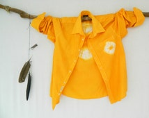 WANDERLUST . men's tie dye shirt . L ⎜ Large . upcycled shirt . orange . boyfriend shirt . hipster . recycleparty au wandarrah etsyau . 42