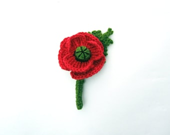 MADE TO ORDER - Poppy boutonniere,poppy lapel pin,crochet poppy brooch,buttonhole flower,man lapel pin,men's women's unisex lapel brooch