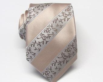 Mens Tie. Wedding Neckties Tan Taupe Cream Stripe Mens Tie. Groomsmen Ties