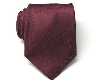 Mens Ties. Wedding Ties. Burgundy Paisley Silk Necktie With Matching Pocket Square Option