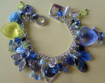 Hearts and Flowers at Sunset Charm Bracelet
