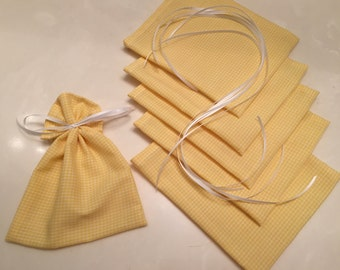 Baby Gingham Check, 6 Ribbon Tied Mini Gift Bags, Favor Bags, Gift Wrap, Cloth Product Bags, Soap Bags, Birthday, Baby Shower, Yellow