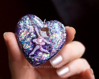 Jewelry Ballet Girl, Ballet Dance, Ballet Teacher Dance Student Gift - Cute Resin Pendant Necklace, Ballet Glitter Heart Pendant by isewcute