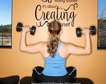 Gym Wall Decal Quote Life isn't about Finding Yourself it's about Creating yourself Vinyl Wall Words Decal Quote Home Gym Decor Modern Decal