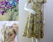 """Vintage 50s Cotton Dress Floral Summer Day Dress Retro Button Front 36"""" Bust Size Small UK 8-10 1950s"""