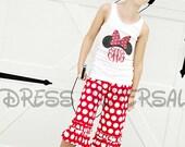Minnie Mouse monogram  tank top short sleeve ruffle or long sleeve ruffle customer shirt for girls
