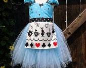 ALICE IN WONDERLAND dress retro Apron dress for girls fun for tea party costume whimsical dress