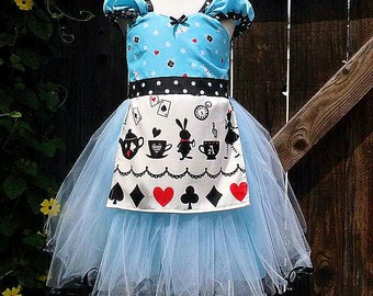 ALICE IN WONDERLAND dress retro Apron dress for girls fun for tea party costume whimsical dress