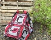Car Seat Canopy, Sports Rag Quilt Blanket, Red, Gray, Black. Custom and Made to Order for Baby Boy