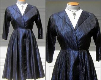 50s Midnight Blue Sharkskin Party Dress - Evening in Paris New Look Vintage Size Medium Estate 2 Piece Set