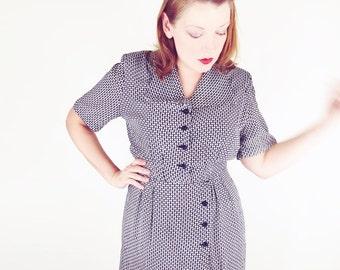 40s Black and White Print Rayon Sheath Dress L
