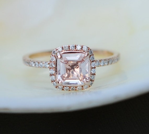 Rose Gold Engagement ring Peach Champagne Sapphire ring